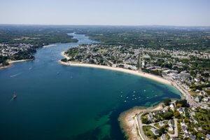 vue aérienne de la rivière de l'Odet depuis Bénodet et Sainte Marine